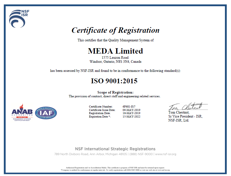 MEDA Limited Proud to Announce 2019 ISO Certification